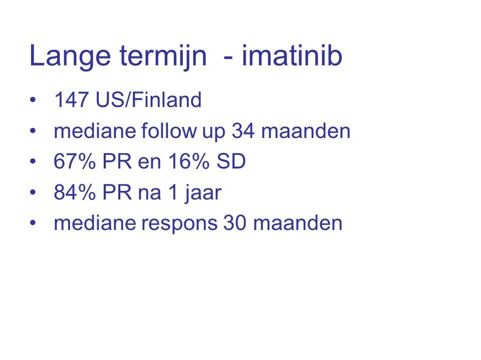 Lange termijn - imatinib •147 US/Finland •mediane follow up 34 maanden •67% PR en 16% SD •84% PR na 1 jaar •mediane respons 30 maanden