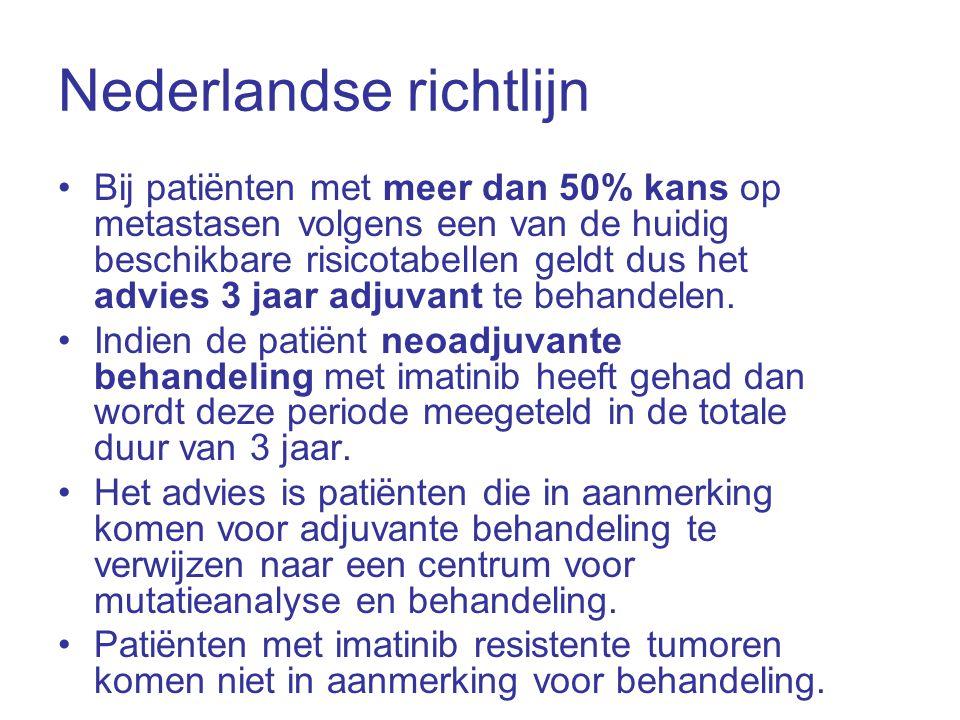 Nederlandse richtlijn •Bij patiënten met meer dan 50% kans op metastasen volgens een van de huidig beschikbare risicotabellen geldt dus het advies 3 j