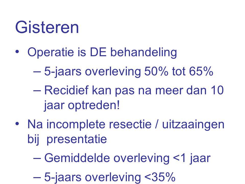 Gisteren • Operatie is DE behandeling – 5-jaars overleving 50% tot 65% – Recidief kan pas na meer dan 10 jaar optreden! • Na incomplete resectie / uit