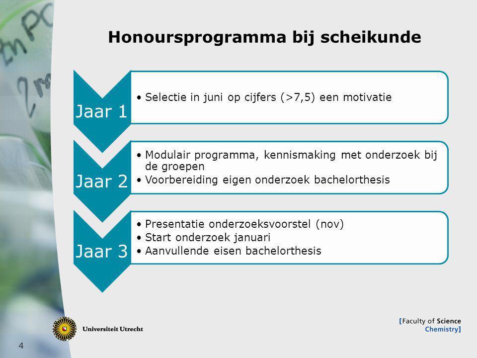 5 Honoursprogramma bij scheikunde 2012- heden Jaar 1 •Selectie voor Topsectiechemiebeurs (voor aanvang) •Uitnodiging tot solliciteren en selectie (sept-okt) •Programma met de TSC-bedrijven (opdracht, korte stage en excursie) •Verdiepende opdrachten per cursus •Selectie zijinstroom in juni op cijfers (>7,5) en motivatie Jaar 2 •Modulair programma, kennismaking met onderzoek bij de groepen en opdracht bedrijven (mogelijk als voorbereiding voor eigen onderzoek) •Verdiepende opdrachten per cursus •Voorbereiding eigen onderzoek bachelorthesis Jaar 3 •Presentatie onderzoeksvoorstel (nov) •Start onderzoek januari •Aanvullende eisen bachelorthesis