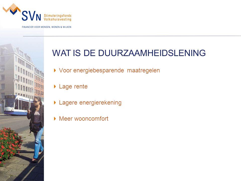 Doelgroep: Condities lening: Welke maatregelen: Bijv.