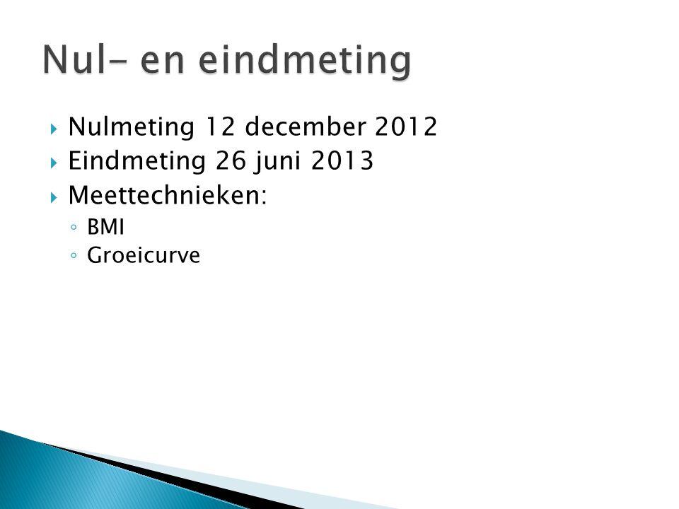  Nulmeting 12 december 2012  Eindmeting 26 juni 2013  Meettechnieken: ◦ BMI ◦ Groeicurve