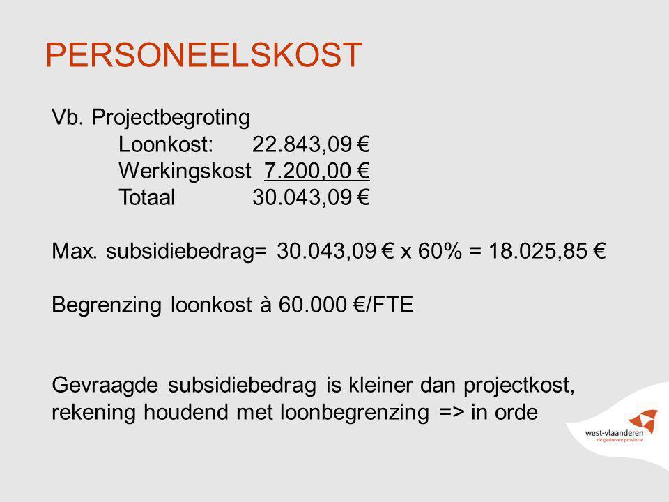 8 PERSONEELSKOST Vb. Projectbegroting Loonkost: 22.843,09 € Werkingskost 7.200,00 € Totaal 30.043,09 € Max. subsidiebedrag= 30.043,09 € x 60% = 18.025