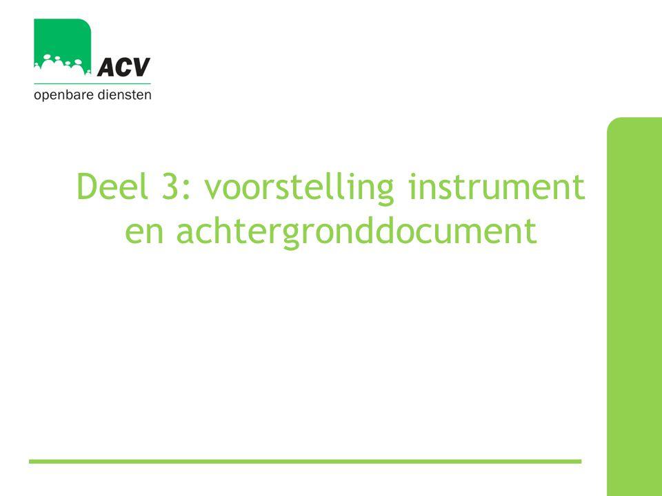 Deel 3: voorstelling instrument en achtergronddocument