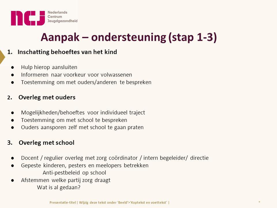 Aanpak – ondersteuning (stap 1-3) 1.Inschatting behoeftes van het kind ●Hulp hierop aansluiten ●Informeren naar voorkeur voor volwassenen ●Toestemming