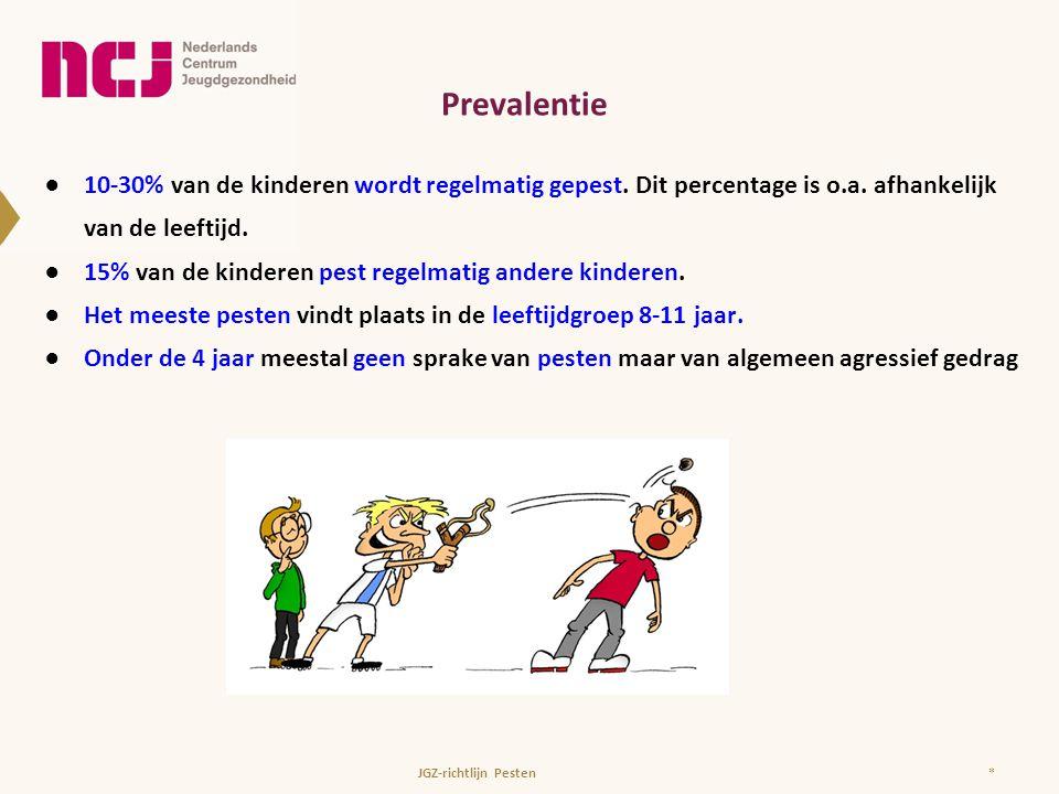 Prevalentie ●10-30% van de kinderen wordt regelmatig gepest. Dit percentage is o.a. afhankelijk van de leeftijd. ●15% van de kinderen pest regelmatig