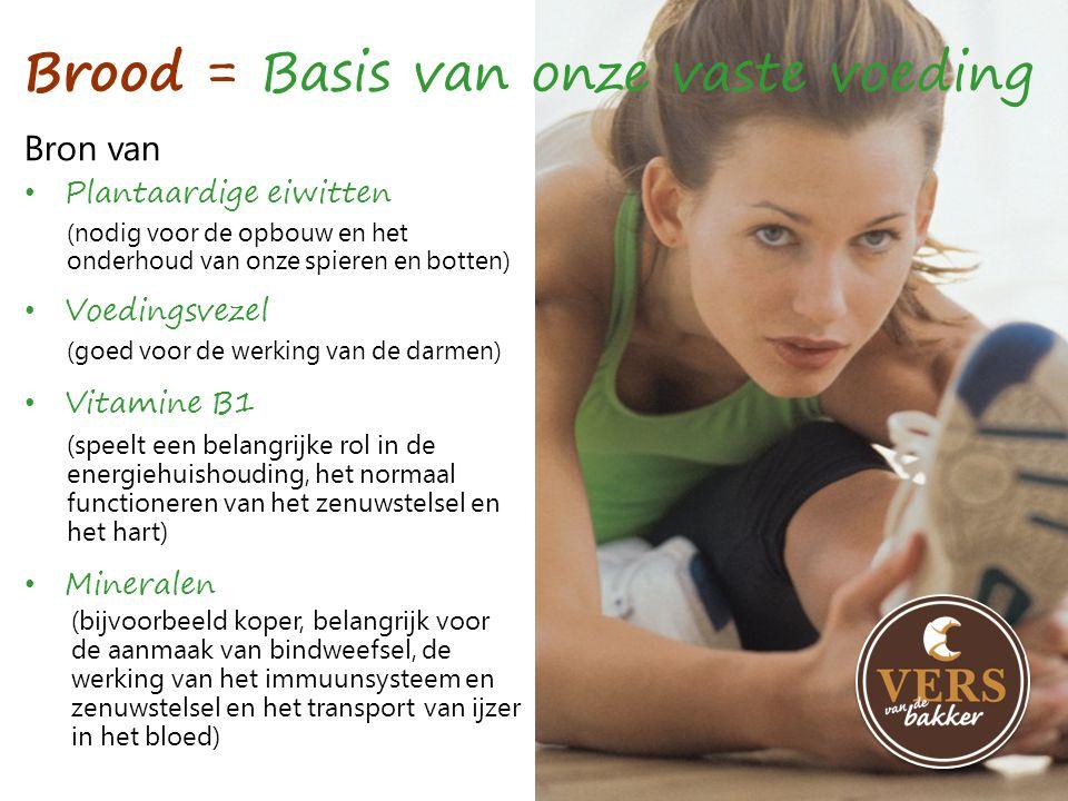 Bron van Brood = Basis van onze vaste voeding •P•Plantaardige eiwitten •V•Voedingsvezel •V•Vitamine B1 •M•Mineralen (nodig voor de opbouw en het onder