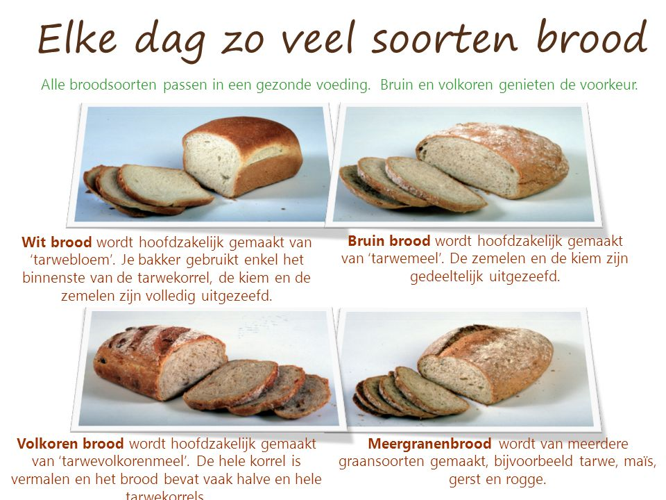Elke dag zo veel soorten brood Wit brood wordt hoofdzakelijk gemaakt van 'tarwebloem'. Je bakker gebruikt enkel het binnenste van de tarwekorrel, de k