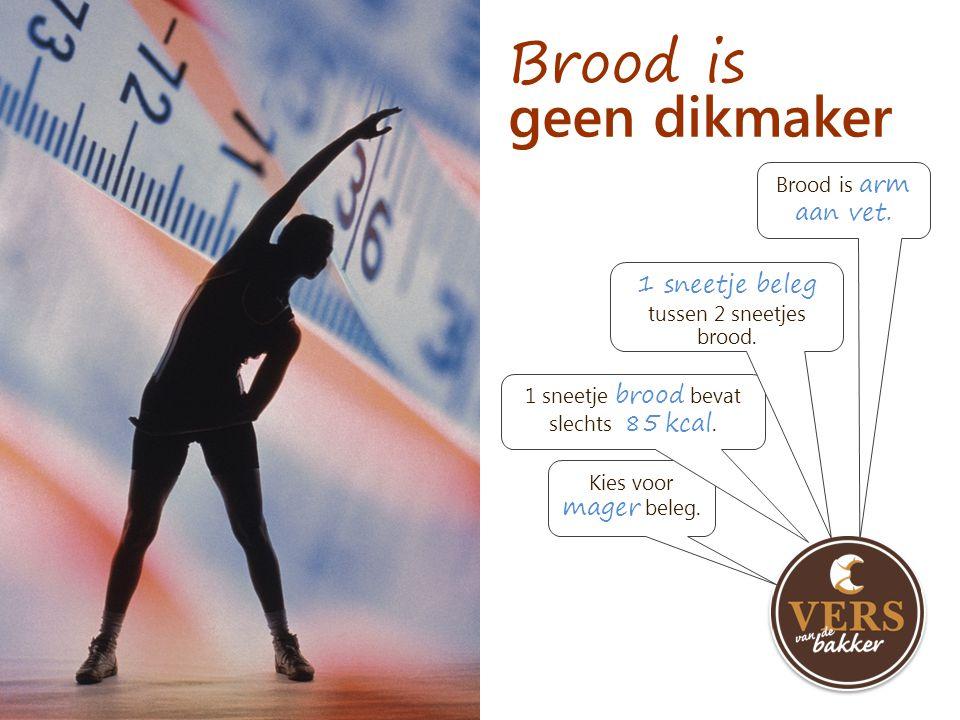 Brood is geen dikmaker Kies voor mager beleg. 1 sneetje brood bevat slechts 85 kcal. Brood is arm aan vet. 1 sneetje beleg tussen 2 sneetjes brood.