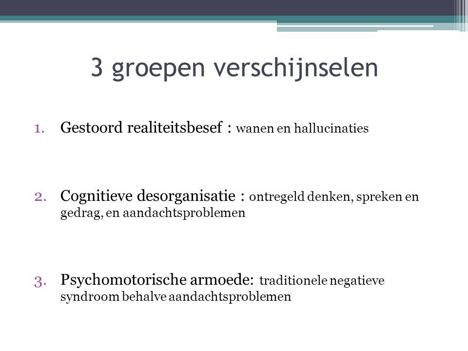3 groepen verschijnselen 1.Gestoord realiteitsbesef : wanen en hallucinaties 2.Cognitieve desorganisatie : ontregeld denken, spreken en gedrag, en aan