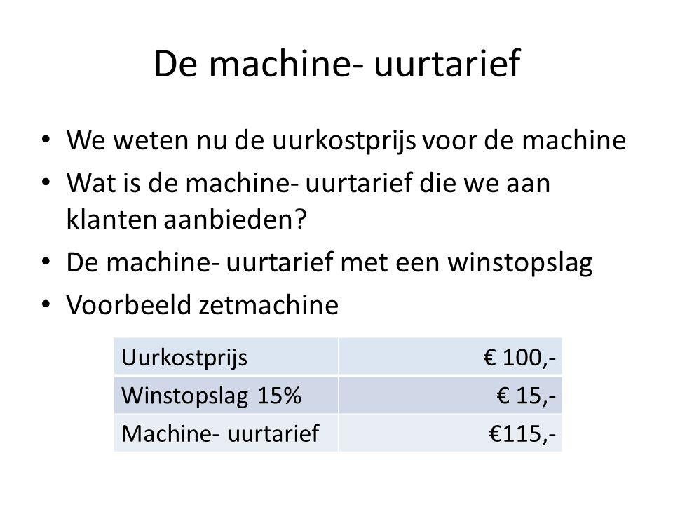 De machine- uurtarief • We weten nu de uurkostprijs voor de machine • Wat is de machine- uurtarief die we aan klanten aanbieden? • De machine- uurtari