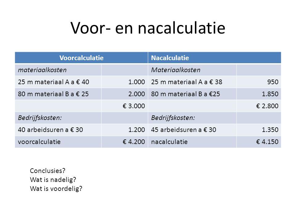 Voor- en nacalculatie VoorcalculatieNacalculatie materiaalkostenMateriaalkosten 25 m materiaal A a € 401.00025 m materiaal A a € 38950 80 m materiaal