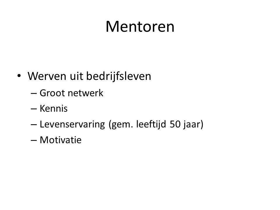 Mentoren • Werven uit bedrijfsleven – Groot netwerk – Kennis – Levenservaring (gem. leeftijd 50 jaar) – Motivatie
