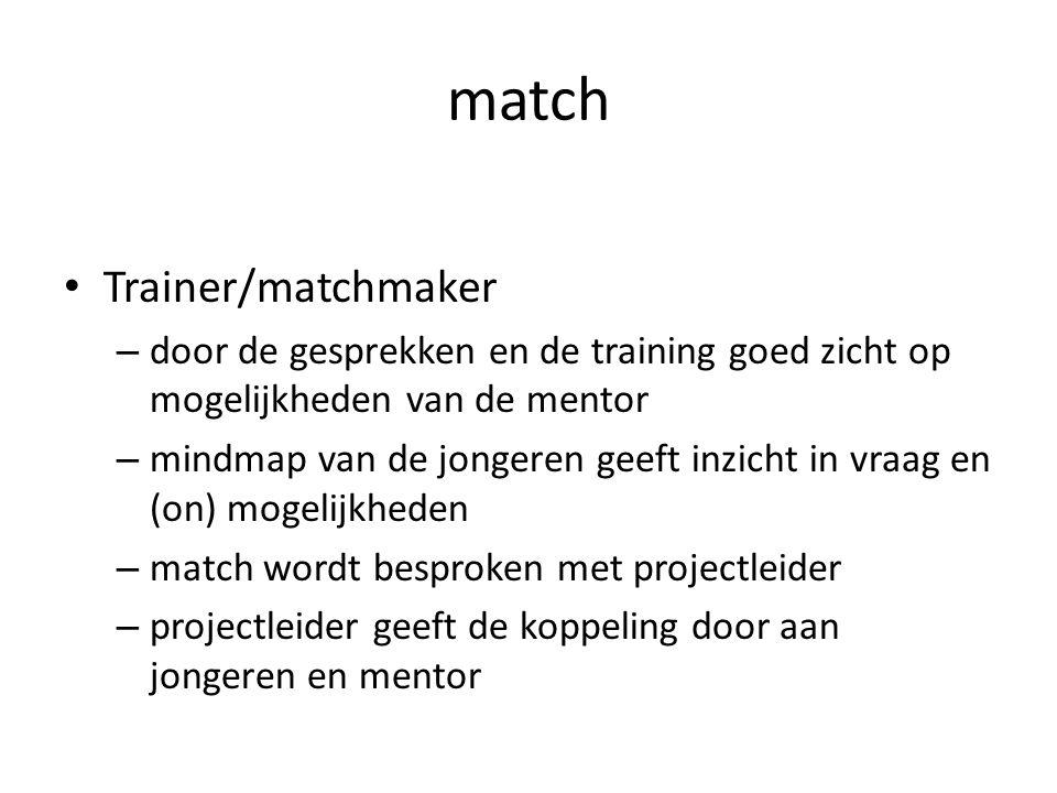 match • Trainer/matchmaker – door de gesprekken en de training goed zicht op mogelijkheden van de mentor – mindmap van de jongeren geeft inzicht in vr
