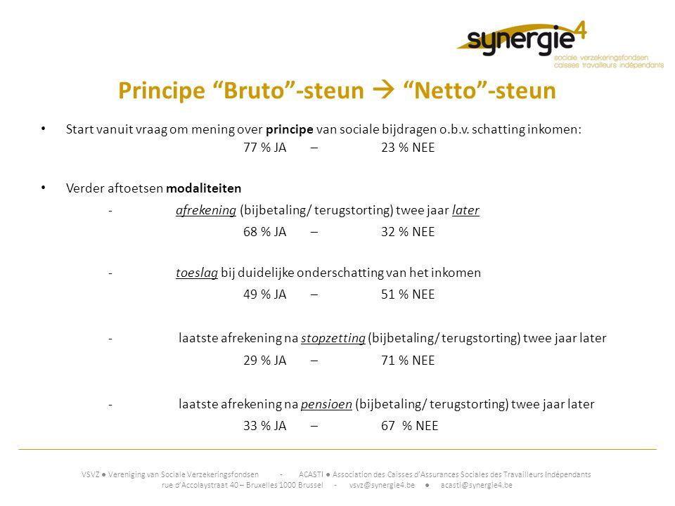 Principe Bruto -steun  Netto -steun • Start vanuit vraag om mening over principe van sociale bijdragen o.b.v.