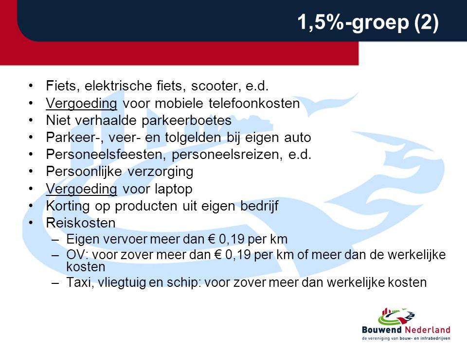 1,5%-groep (2) •Fiets, elektrische fiets, scooter, e.d.