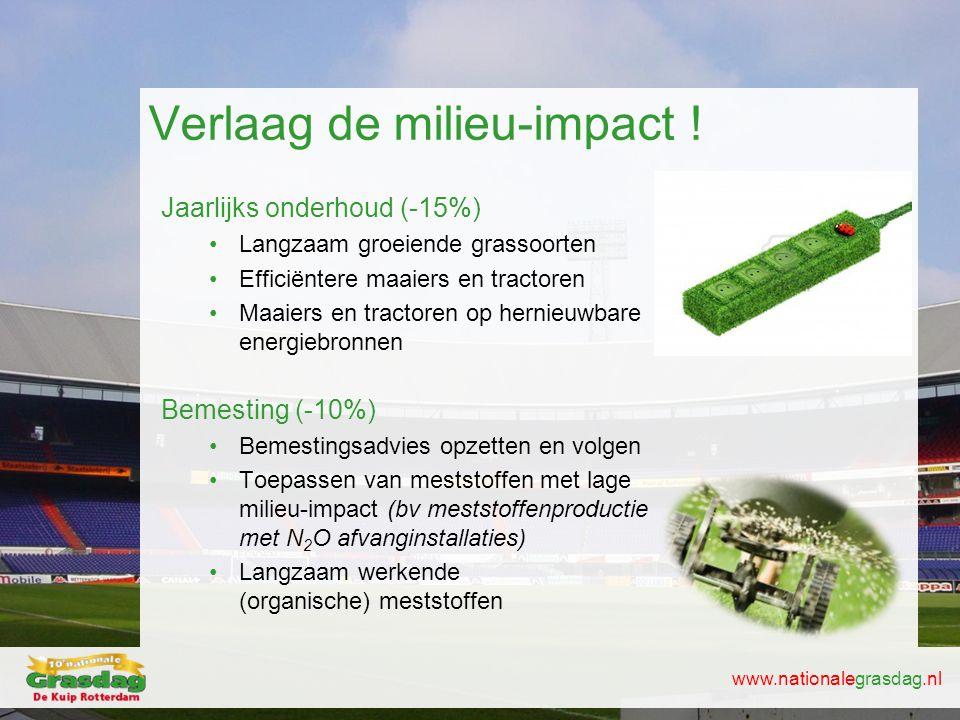 www.nationalegrasdag.nl Verlaag de milieu-impact ! Jaarlijks onderhoud (-15%) •Langzaam groeiende grassoorten •Efficiëntere maaiers en tractoren •Maai