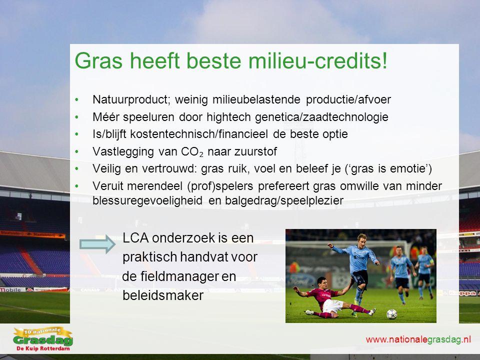 www.nationalegrasdag.nl Gras heeft beste milieu-credits! •Natuurproduct; weinig milieubelastende productie/afvoer •Méér speeluren door hightech geneti