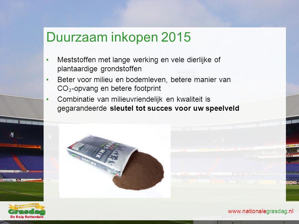 www.nationalegrasdag.nl Duurzaam inkopen 2015 •Meststoffen met lange werking en vele dierlijke of plantaardige grondstoffen •Beter voor milieu en bode