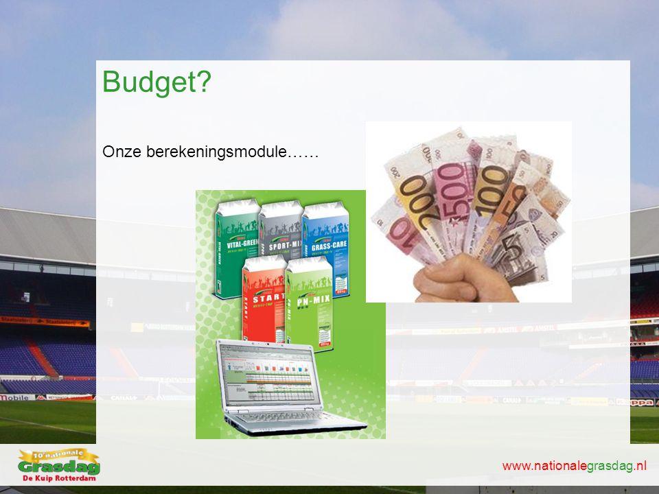 www.nationalegrasdag.nl Onze berekeningsmodule…… Budget?