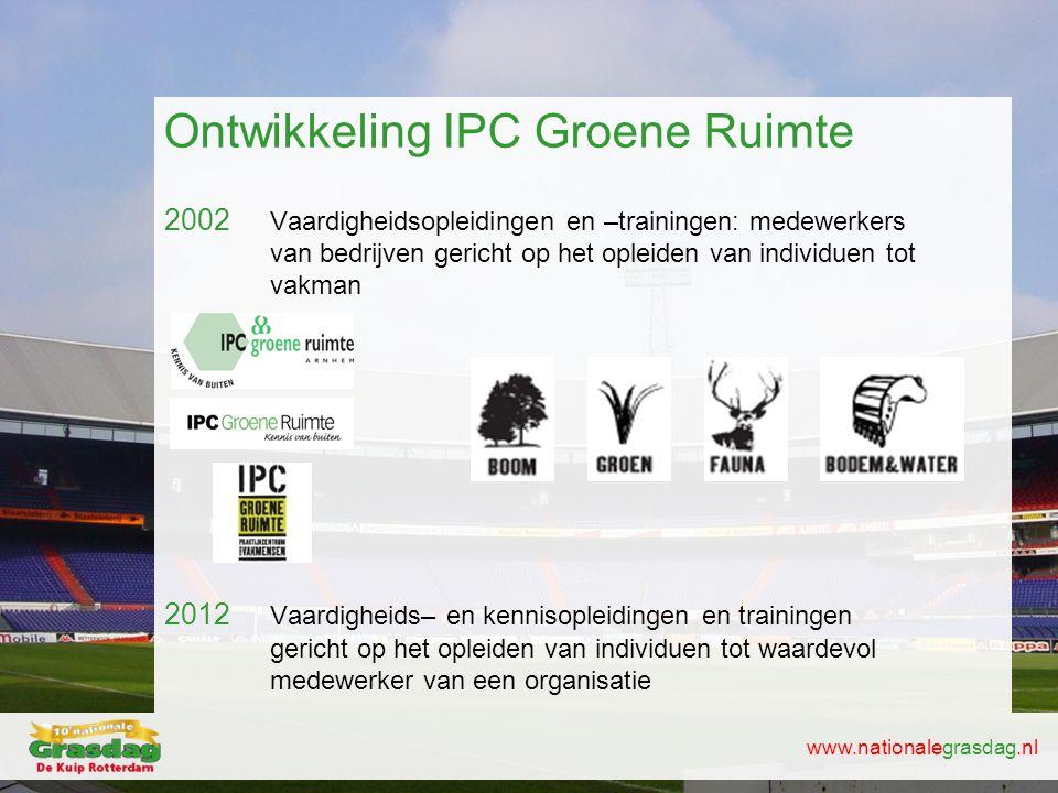 www.nationalegrasdag.nl Ontwikkeling IPC Groene Ruimte 2002 Vaardigheidsopleidingen en –trainingen: medewerkers van bedrijven gericht op het opleiden