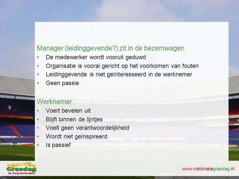 www.nationalegrasdag.nl Manager (leidinggevende?) zit in de bezemwagen •De medewerker wordt vooruit geduwd •Organisatie is vooral gericht op het voork