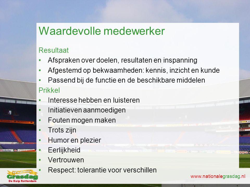 www.nationalegrasdag.nl Waardevolle medewerker Resultaat •Afspraken over doelen, resultaten en inspanning •Afgestemd op bekwaamheden: kennis, inzicht