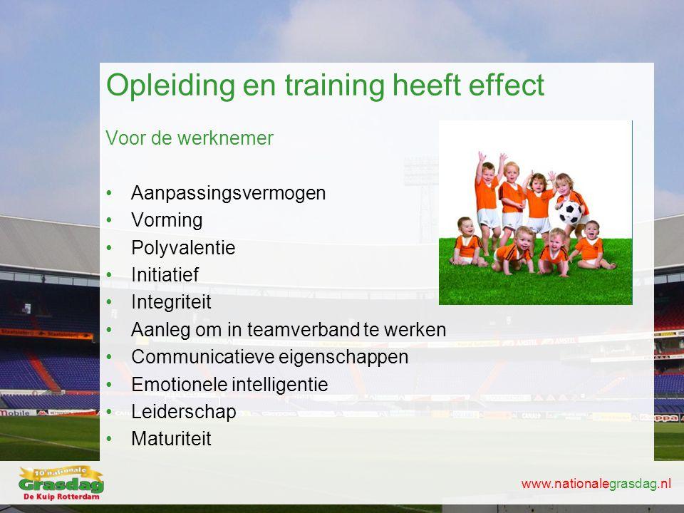 www.nationalegrasdag.nl Opleiding en training heeft effect Voor de werknemer •Aanpassingsvermogen •Vorming •Polyvalentie •Initiatief •In