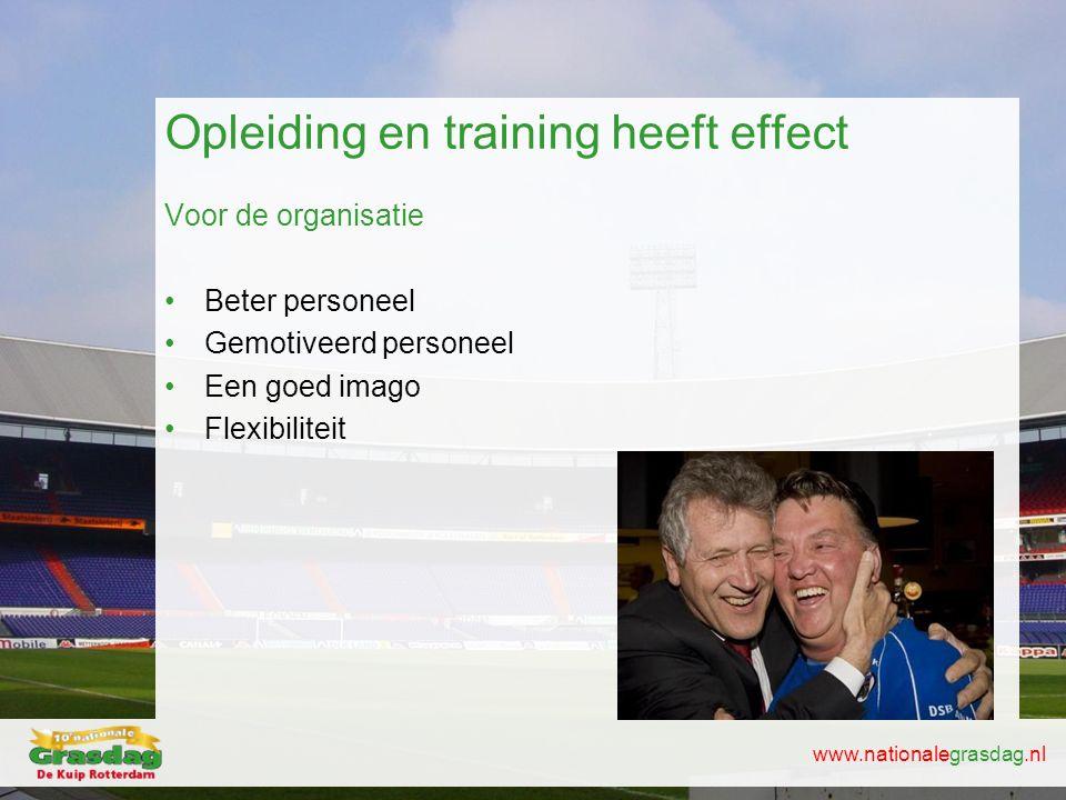 www.nationalegrasdag.nl Opleiding en training heeft effect Voor de organisatie •Beter personeel •Gemotiveerd personeel •Een goed imago •Flexibiliteit