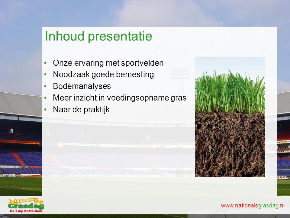 www.nationalegrasdag.nl Inhoud presentatie •Onze ervaring met sportvelden •Noodzaak goede bemesting •Bodemanalyses •Meer inzicht in voedingsopname gra