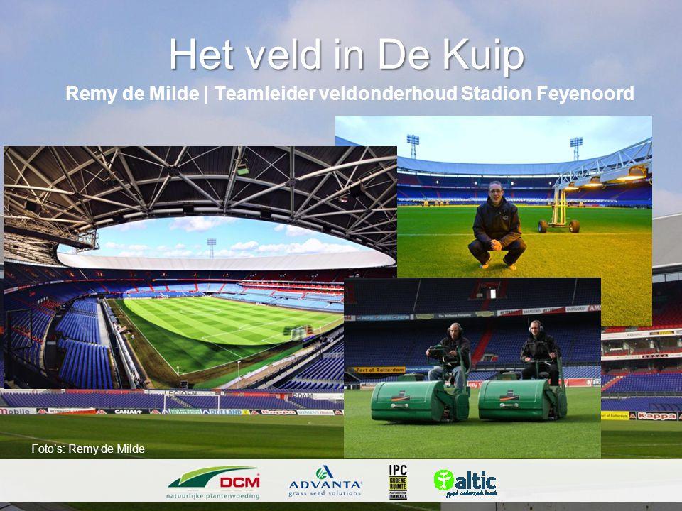 Het veld in De Kuip Remy de Milde   Teamleider veldonderhoud Stadion Feyenoord Foto's: Remy de Milde