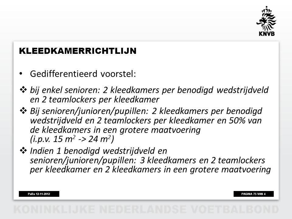 PAGINA 75 VAN 4PaBa 12-11-2012 KLEEDKAMERRICHTLIJN • Gedifferentieerd voorstel:  bij enkel senioren: 2 kleedkamers per benodigd wedstrijdveld en 2 te