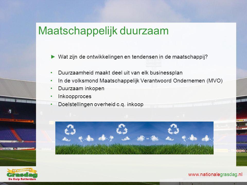 www.nationalegrasdag.nl Maatschappelijk duurzaam ►Wat zijn de ontwikkelingen en tendensen in de maatschappij? •Duurzaamheid maakt deel uit van elk bus