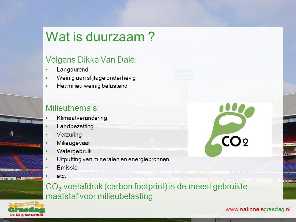 www.nationalegrasdag.nl Wat is duurzaam ? Volgens Dikke Van Dale: •Langdurend •Weinig aan slijtage onderhevig •Het milieu weinig belastend Milieuthema
