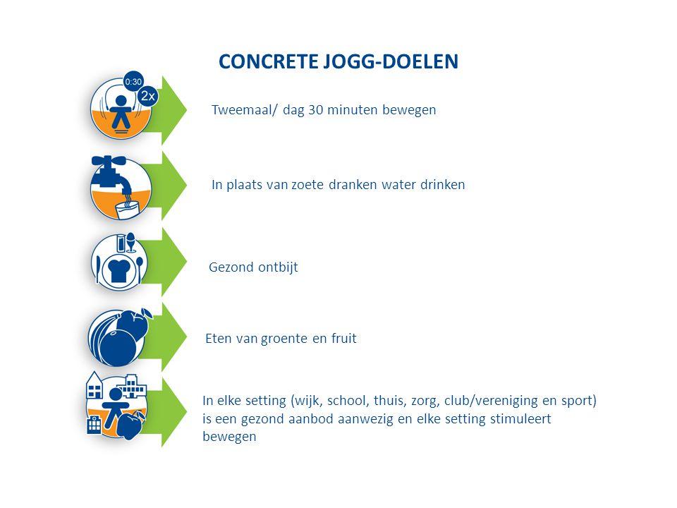 CONCRETE JOGG-DOELEN 1.Twee maal/dag 30 minuten bewegen 2.In plaats van gezoete dranken water drinken 3.Gezond ontbijt 4.Inname van groente en fruit 5