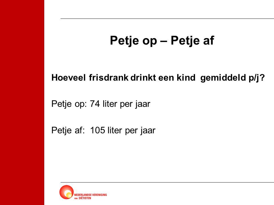 Petje op – Petje af Hoeveel frisdrank drinkt een kind gemiddeld p/j? Petje op: 74 liter per jaar Petje af: 105 liter per jaar