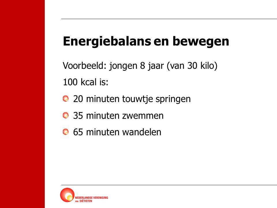 Energiebalans en bewegen Voorbeeld: jongen 8 jaar (van 30 kilo) 100 kcal is: 20 minuten touwtje springen 35 minuten zwemmen 65 minuten wandelen