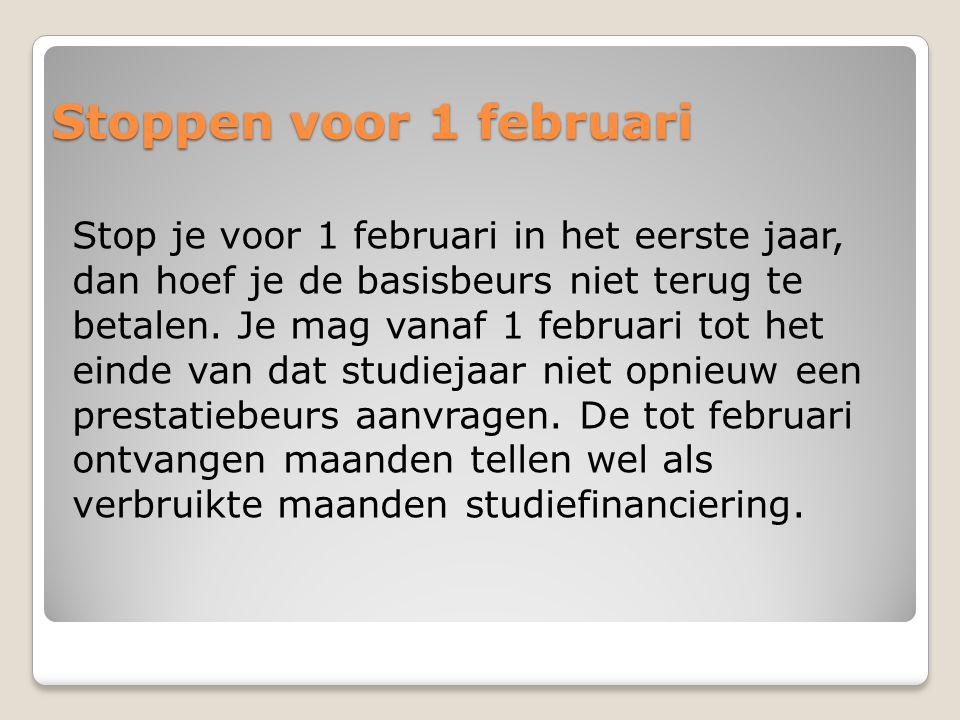 Stoppen voor 1 februari Stop je voor 1 februari in het eerste jaar, dan hoef je de basisbeurs niet terug te betalen. Je mag vanaf 1 februari tot het e