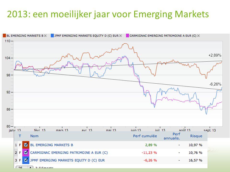 31 2013: een moeilijker jaar voor Emerging Markets +2,89% -6,26%