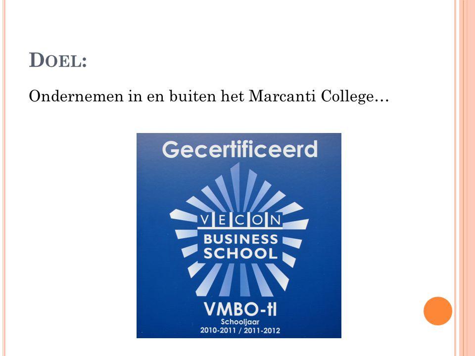D OEL : Ondernemen in en buiten het Marcanti College…