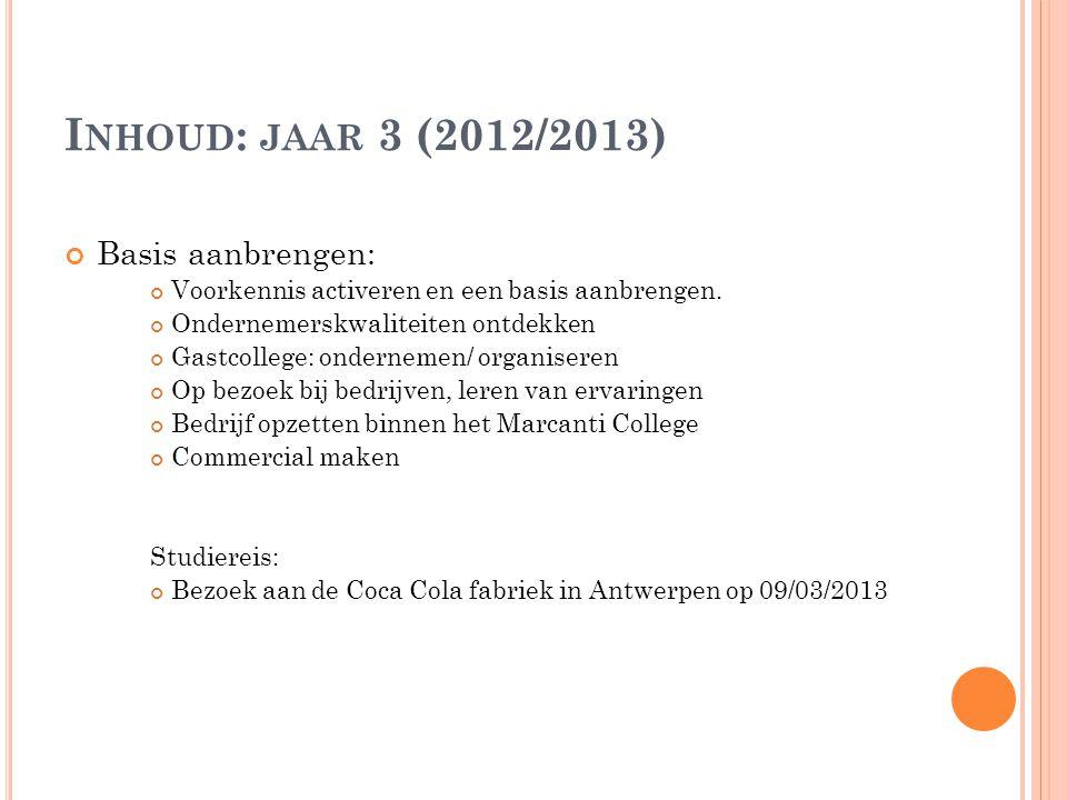 I NHOUD : JAAR 3 (2012/2013) Basis aanbrengen: Voorkennis activeren en een basis aanbrengen.