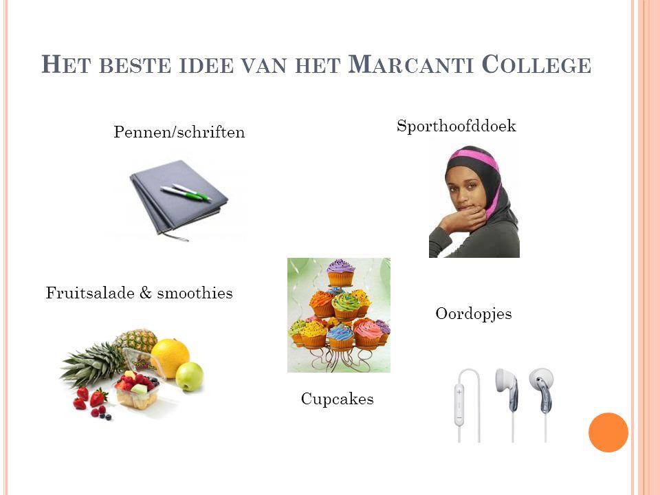 H ET BESTE IDEE VAN HET M ARCANTI C OLLEGE Pennen/schriften Sporthoofddoek Fruitsalade & smoothies Cupcakes Oordopjes