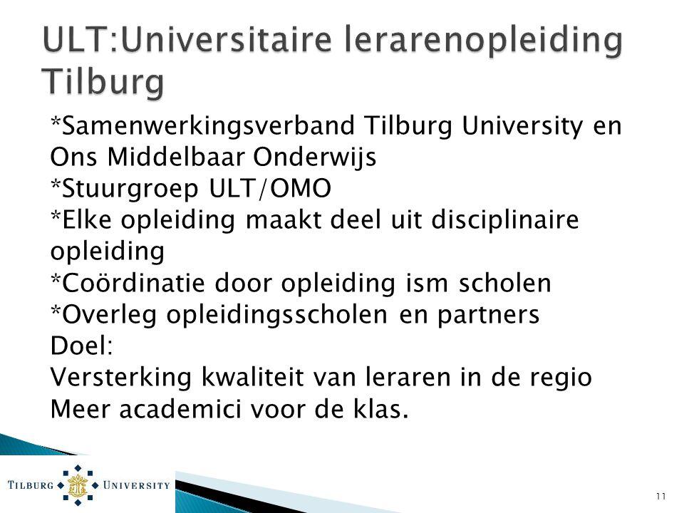 *Samenwerkingsverband Tilburg University en Ons Middelbaar Onderwijs *Stuurgroep ULT/OMO *Elke opleiding maakt deel uit disciplinaire opleiding *Coörd