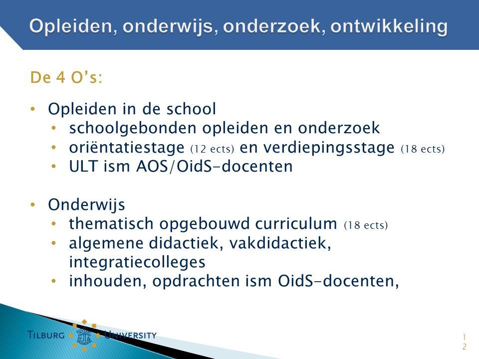 12 De 4 O's: • Opleiden in de school • schoolgebonden opleiden en onderzoek • oriëntatiestage (12 ects) en verdiepingsstage (18 ects) • ULT ism AOS/Oi