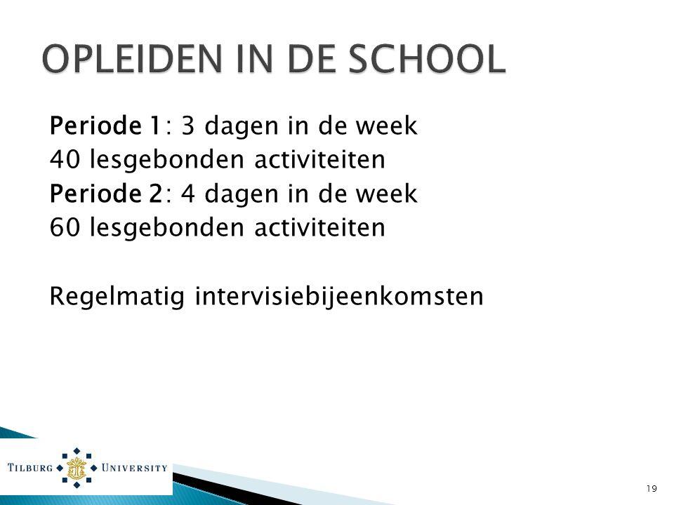 Periode 1: 3 dagen in de week 40 lesgebonden activiteiten Periode 2: 4 dagen in de week 60 lesgebonden activiteiten Regelmatig intervisiebijeenkomsten