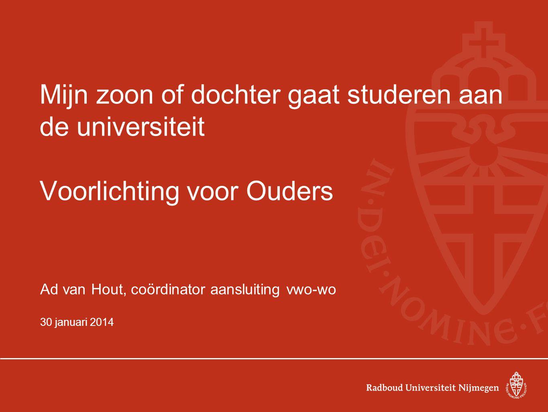 Mijn zoon of dochter gaat studeren aan de universiteit Voorlichting voor Ouders Ad van Hout, coördinator aansluiting vwo-wo 30 januari 2014