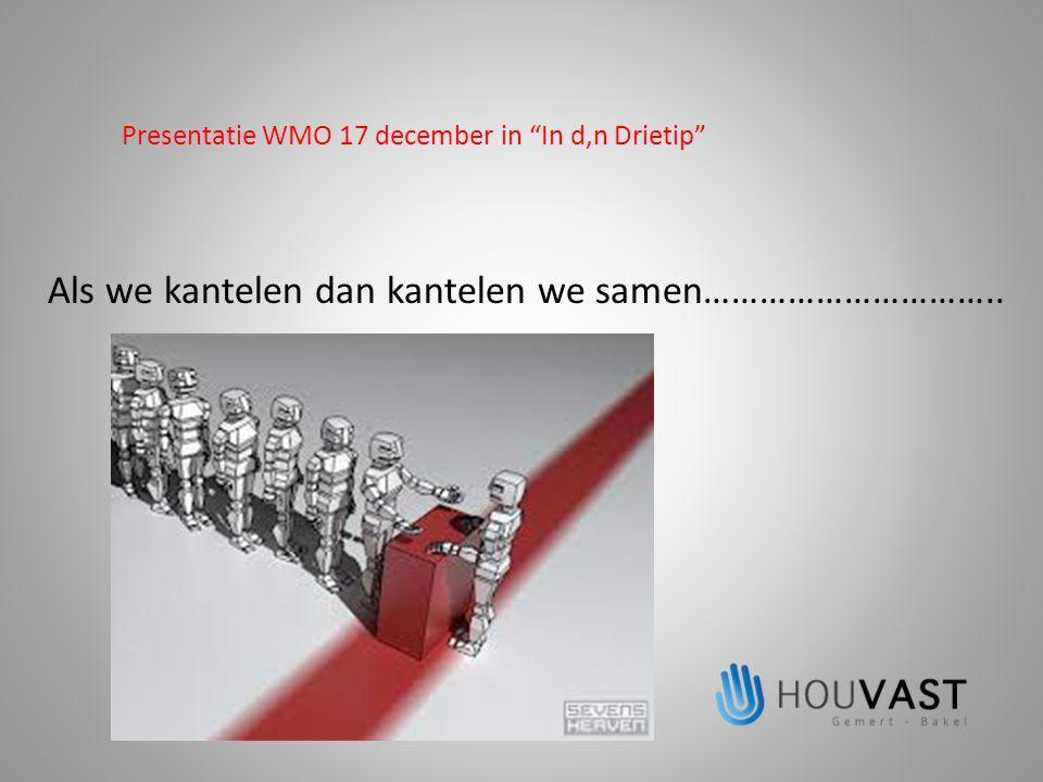 """Presentatie WMO 17 december in """"In d,n Drietip"""" Als we kantelen dan kantelen we samen………………………….."""