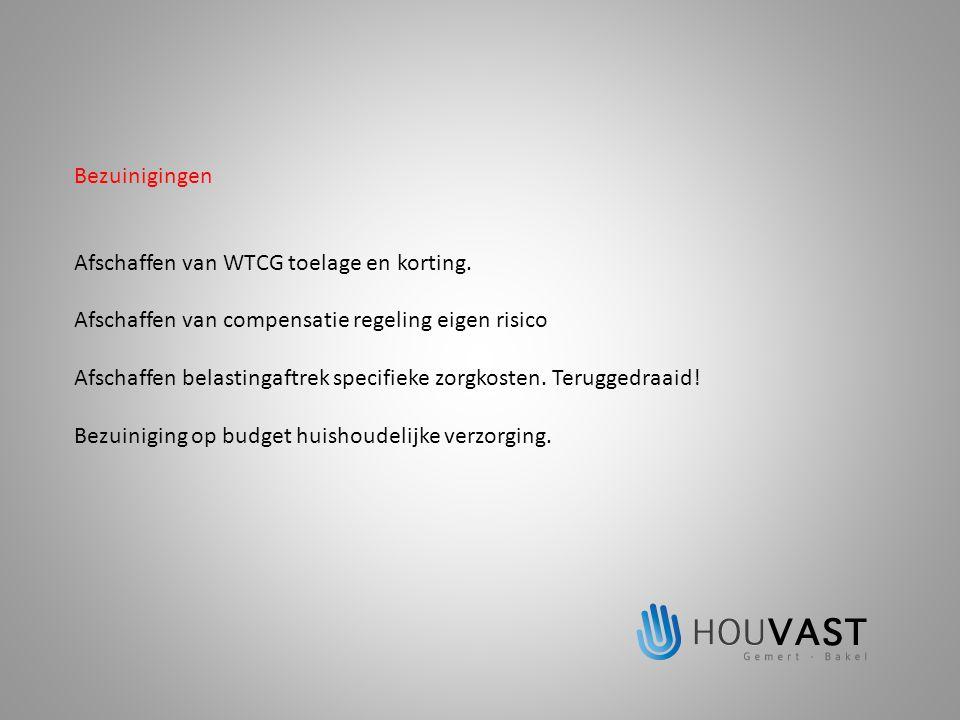 Bezuinigingen Afschaffen van WTCG toelage en korting. Afschaffen van compensatie regeling eigen risico Afschaffen belastingaftrek specifieke zorgkoste