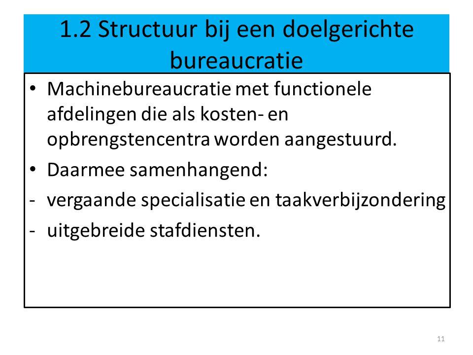 1.2 Structuur bij een doelgerichte bureaucratie • Machinebureaucratie met functionele afdelingen die als kosten- en opbrengstencentra worden aangestuurd.