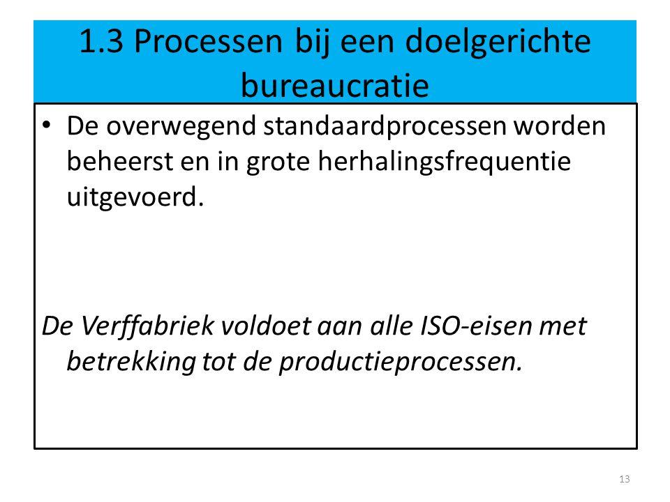 1.3 Processen bij een doelgerichte bureaucratie • De overwegend standaardprocessen worden beheerst en in grote herhalingsfrequentie uitgevoerd. De Ver
